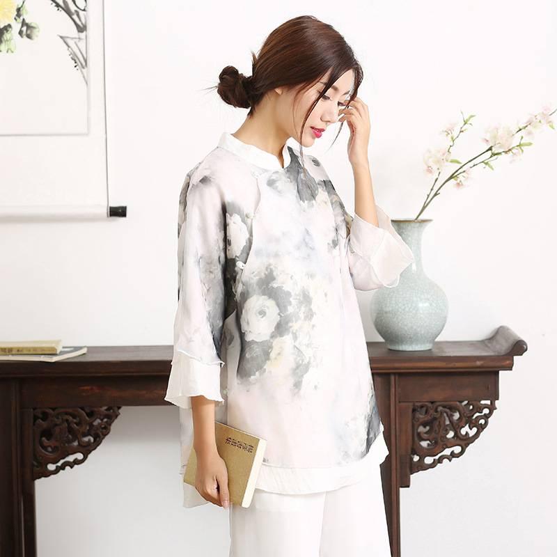 2017春装新品改良唐装女上衣立领盘扣复古中式茶服禅服中国风女装