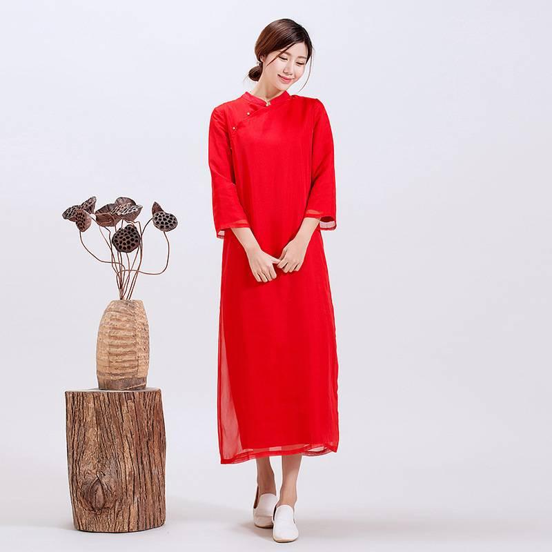夏装新款亚麻连衣裙双层中式改良旗袍长裙杨丽萍风格女装袍子