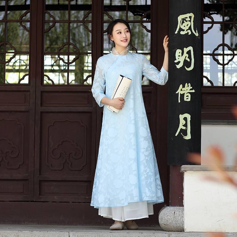 佛笑缘之云水谣 新加淡蓝色 雪纺提花中式长裙连衣裙女预售
