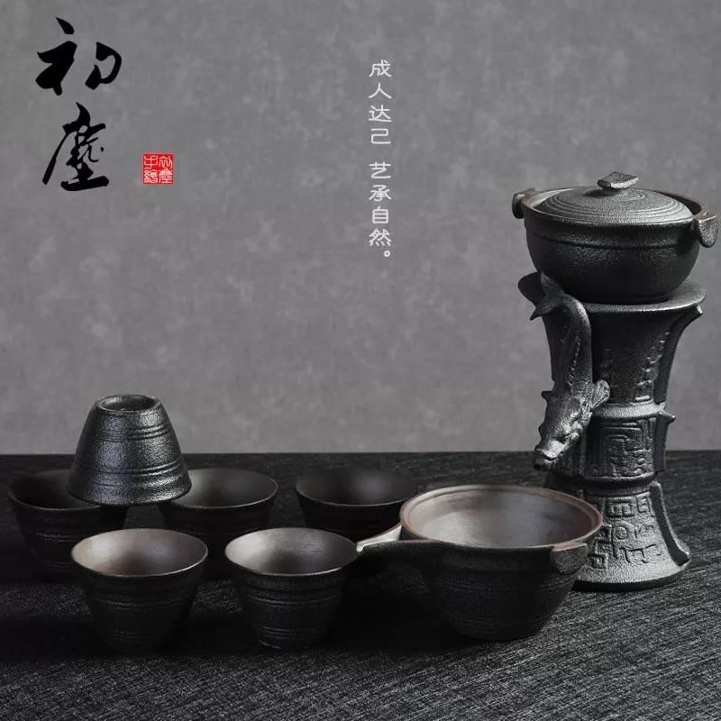 黑陶自动功夫茶具整套懒人陶瓷茶具套装防烫冲茶器